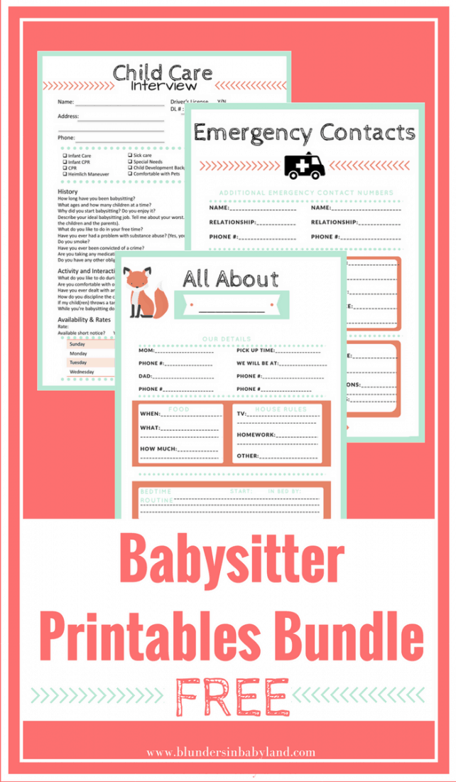 Babysitter Printables Bundle
